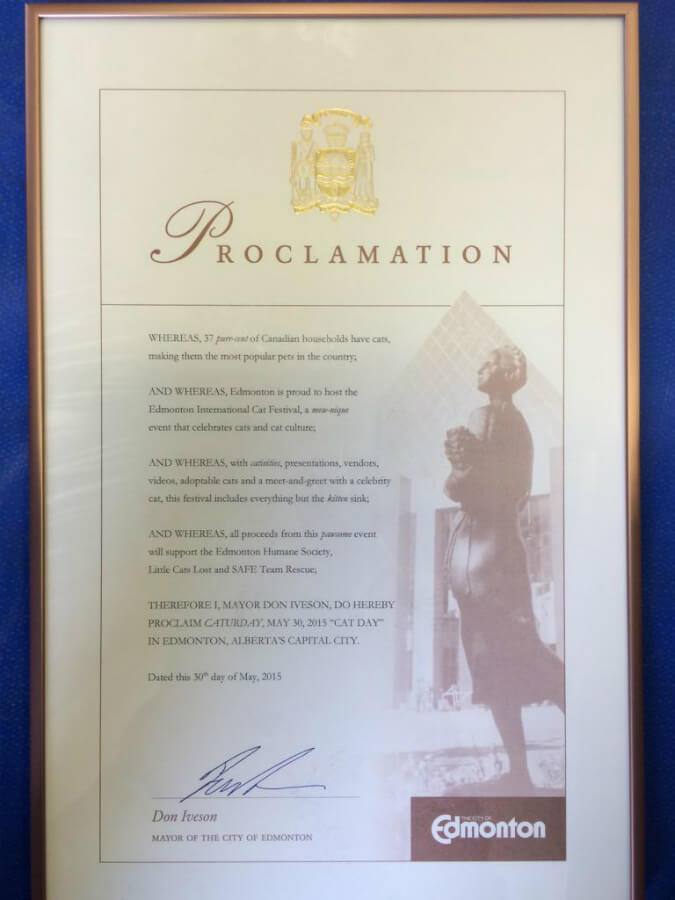 The official City of Edmonton Cat Festival Proclamation (as signed by Mayor Don Iveson) - May 30, 2015.