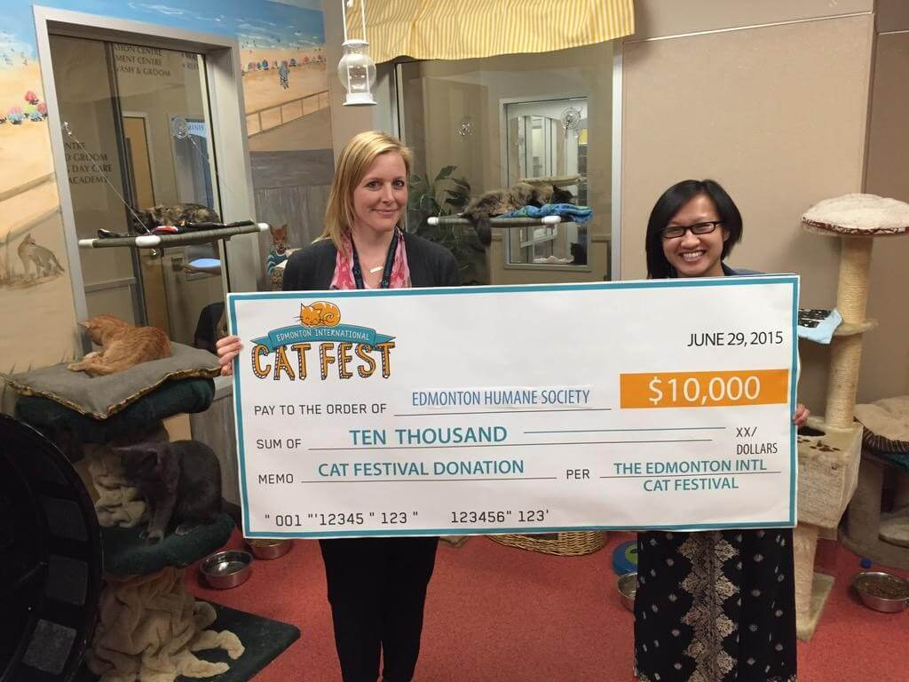 Edmonton International Cat Festival cheque presentation with the Edmonton Humane Society.