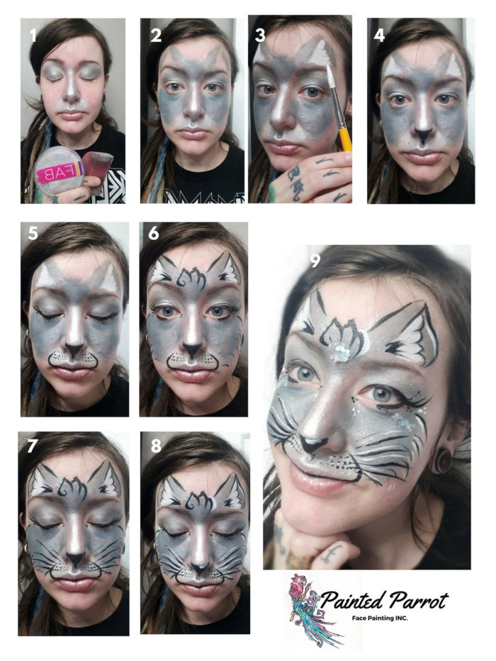 Cat Face Painting Painted Parrot Face Painting