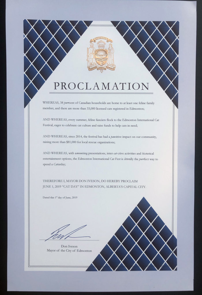 Edmonton Cat Festival City of Edmonton Cat Day Proclamation