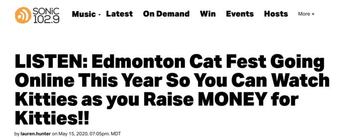 Sonic 1029 Lauren Hunter Edmonton Cat Festival